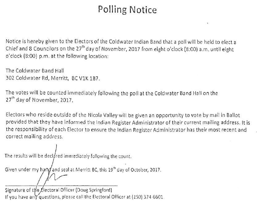 Coldwater Band Polling Notice Nov 27 2017